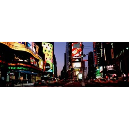 Traffic on a road Times Square New York City New York USA Canvas Art - Panoramic Images (18 x (Malls In New York City Times Square)