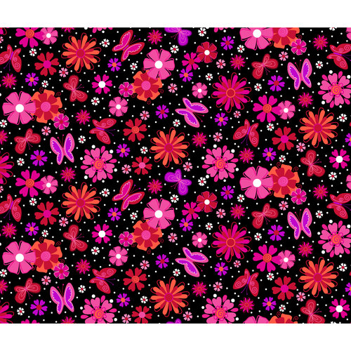 Novelty Prints Flower and Butterfly Metallic Fabric