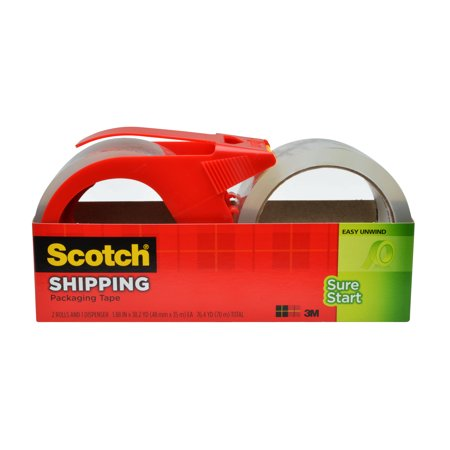 Scotch Sure Start Shipping Packaging Tape  1 88 In  X 38 2 Yd   Clear  2 Rolls And 1 Dispenser Pack