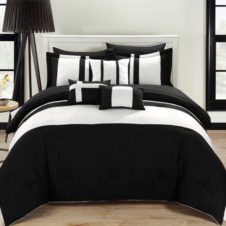 Fiesta Black & White 10 Piece Color Block Comforter Bed In A Bag Set