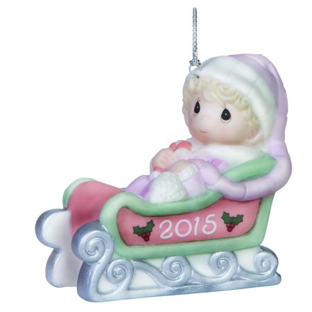 Precious Moments 151005 Baby Girl's First Christmas Dated 2015 Ornament