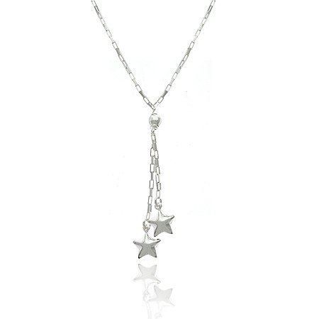 Nursery Rhyme Sterling Silver .925 Rectangle Link Disco Ball Bead Twinkle Twinkle Puffed Star Charm Lariat