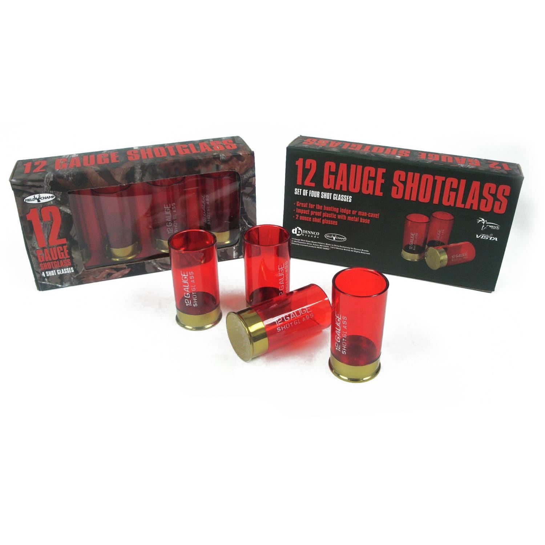 Dennco 4-Piece Set of Red Plastic Shot Glasses, 2 oz by Dennco Inc