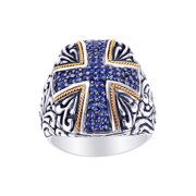 Phillip Gavriel 18k Gold & Sterling Silver Blue Sapphire Ring, Size 8