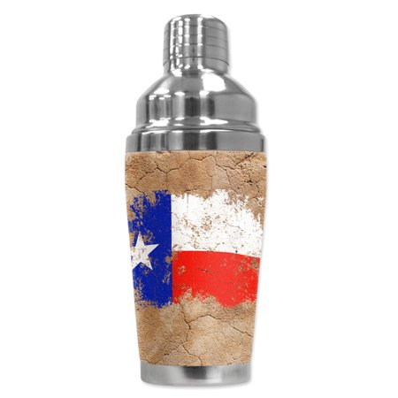 Mugzie brand 16-Ounce Cocktail Shaker with Insulated Wetsuit Cover - Vintage Texas Flag