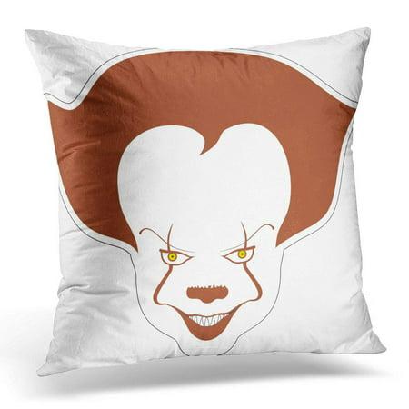 ECCOT Evil Clown Sticker Scary Cartoon Character Circus Creepy Pillowcase Pillow Cover Cushion Case 16x16 - Evil Circus