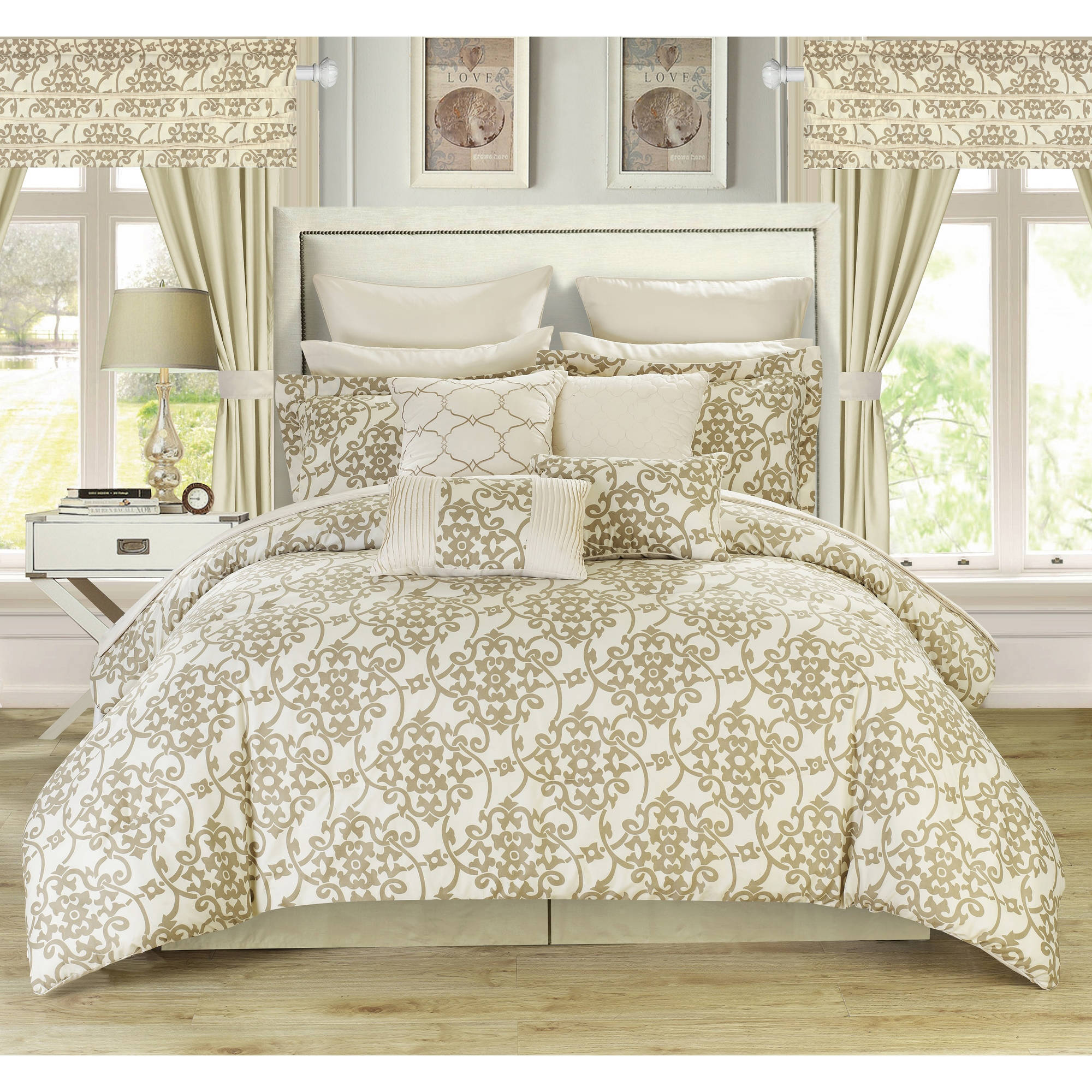 Chic Home Olivier 24-Piece Reversible Bed-in-a-Bag Comforter Set with Window Treatment and Sheets