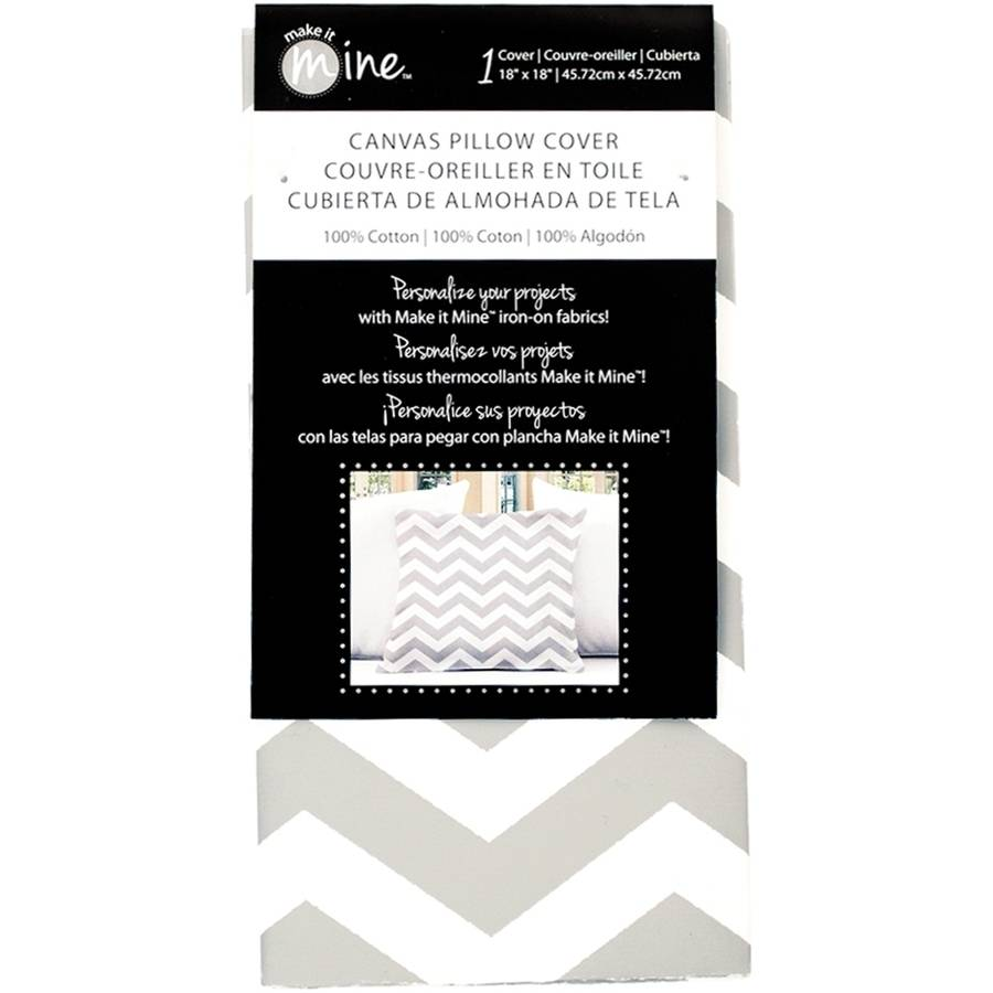 "Canvas Pillow Cover 18"" x 18"" 1 Pkg Gray Chevron by Fabric Editions"