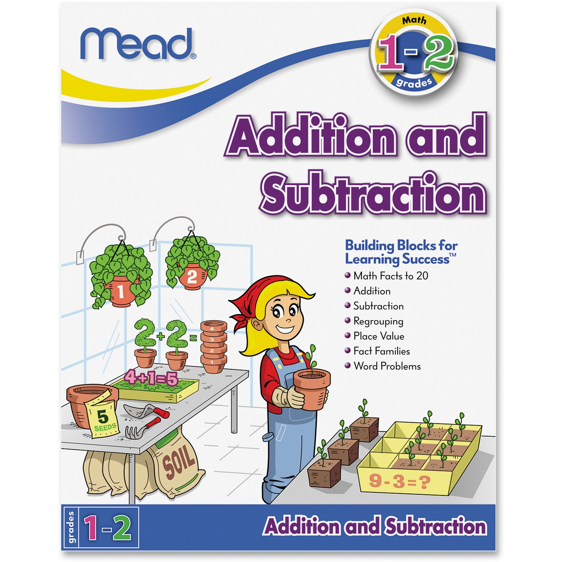 Mead Addition And Subtraction Workbook Grades 1-2 Education Printed Book For Mathematics - Published On: 2013 March 15 - Book - 64 Pages (mea-48078)