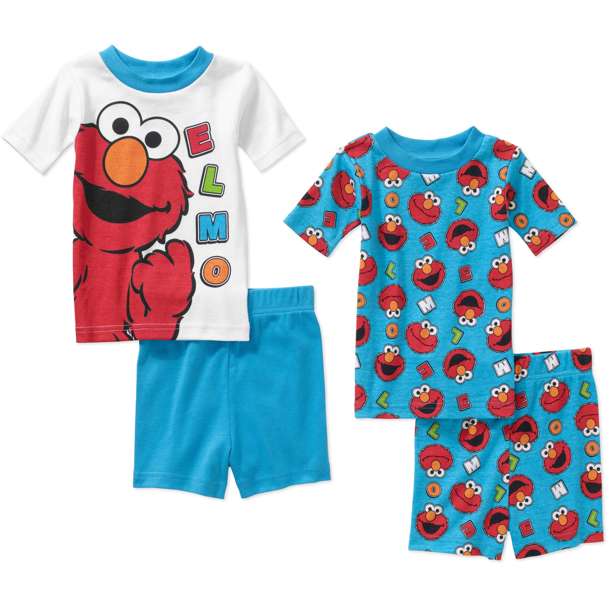Sesame Street Elmo Infant Baby Boy' Mix n' Match Short Sleeve Cotton Tight Fit Pajamas, 4-Pieces