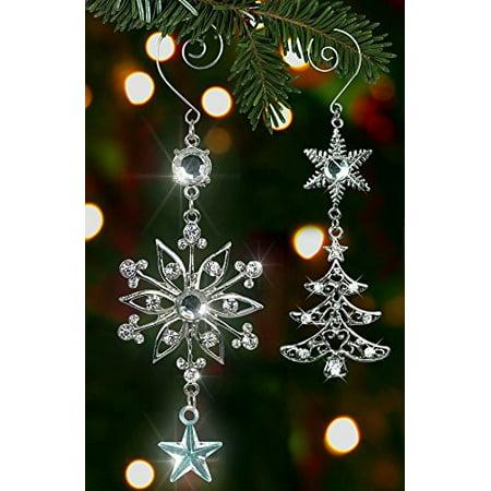 Christmas Ornament Set - Holiday Snowflake and Tree with -