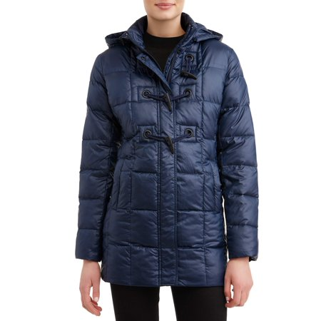 Women's Down Blend Hooded Toggle Coat