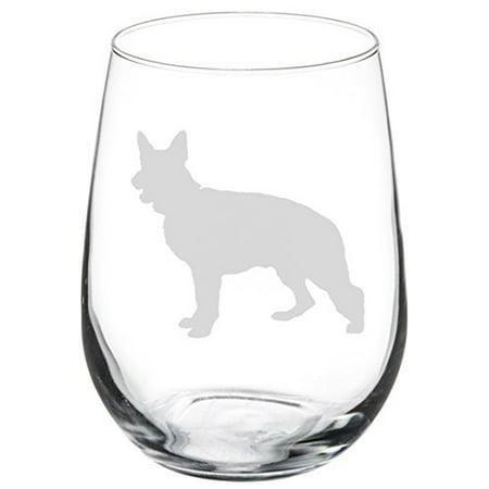 Wine Glass Goblet German Shepherd (17 oz Stemless)