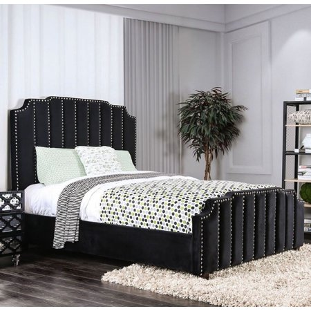 Contemporary Beautiful Classic Lovely Black Color Flannelette Fabric Queen  Size Bed relax Bedframe Nailhead Trim Bedroom Furniture