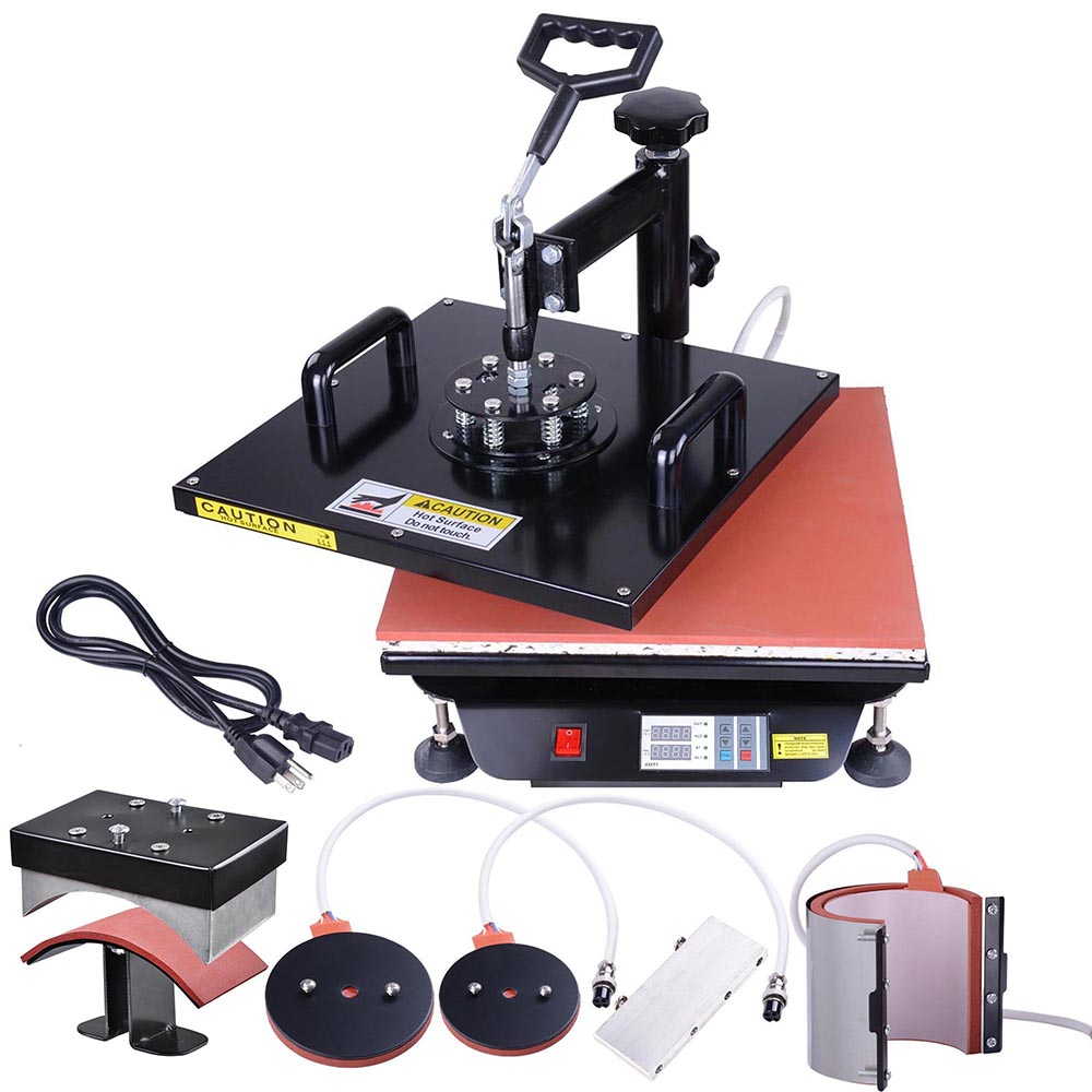 """Yescom 8-in-1 15""""x15"""" Digital Heat Sublimation Transfer Press Machine for T-shirt Mug with Gloves"""