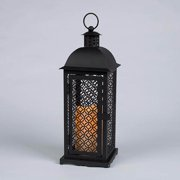 """Gerson 42026 - 12.8"""" Black Mesh Metal Lantern Wavy Edge Battery Operated LED Resin Candle Light with Timer"""
