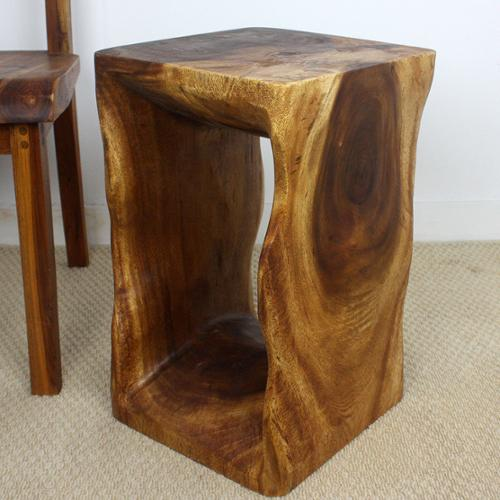 Haussmann Handmade 12 x 20 Natural Walnut Oiled 'Monkey Pod' Wood End Table (Thailand)