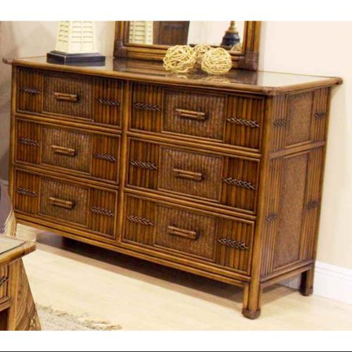 Polynesian 6 Drawer Dresser in Antique Finish