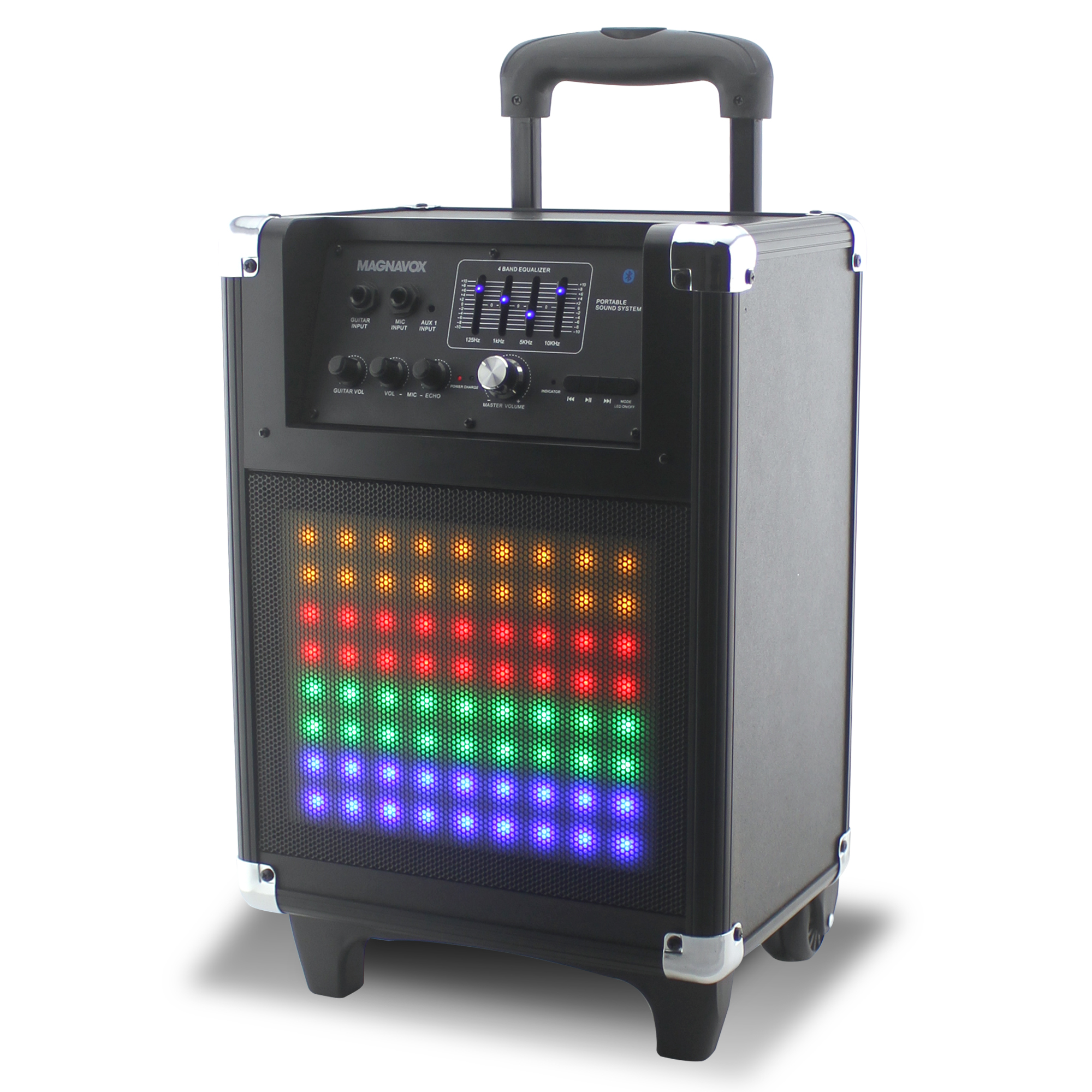 Magnavox Rolling Portable Speaker System with Bluetooth, FM, and Color changing Lights MHT825