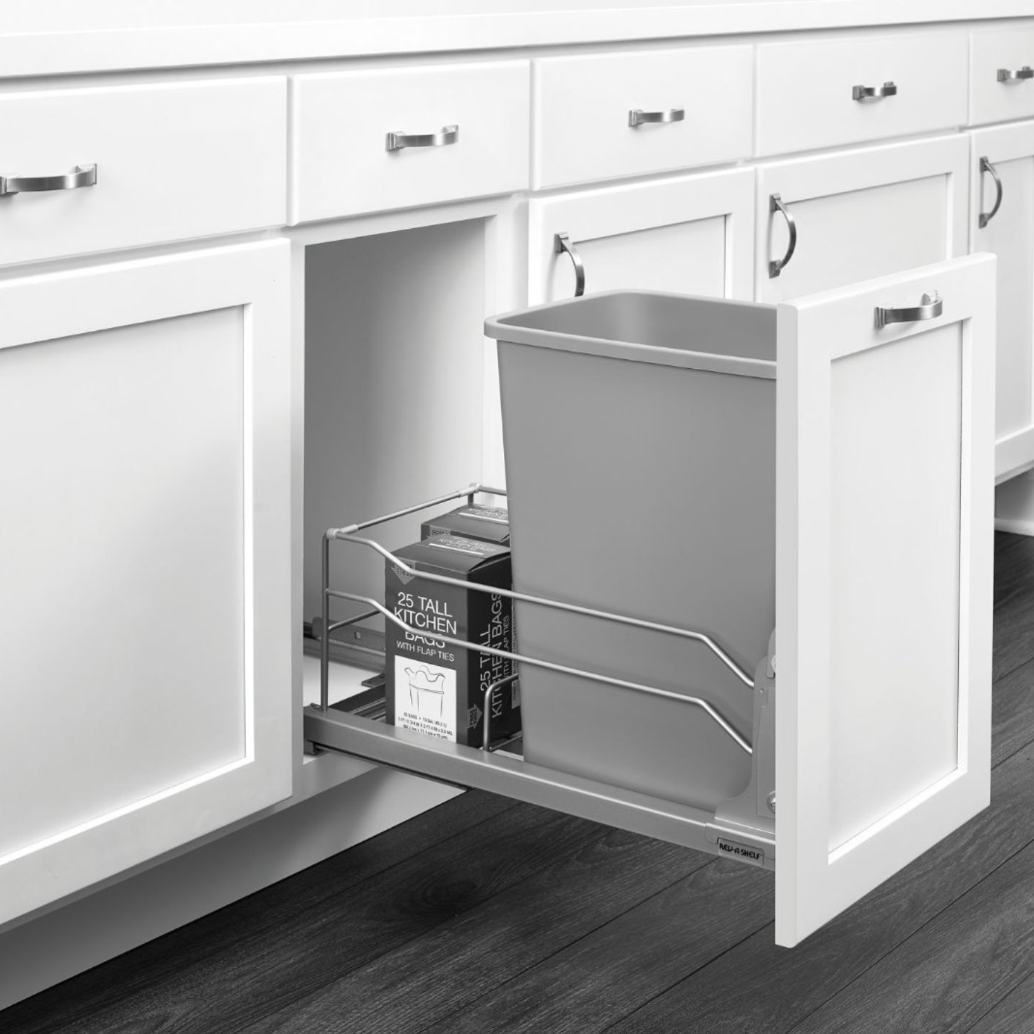 "Rev-A-Shelf RV53WC Single 35 Quart Undermount Waste Container w/Soft-Close Pullout, 11-1/2"" , Silver"