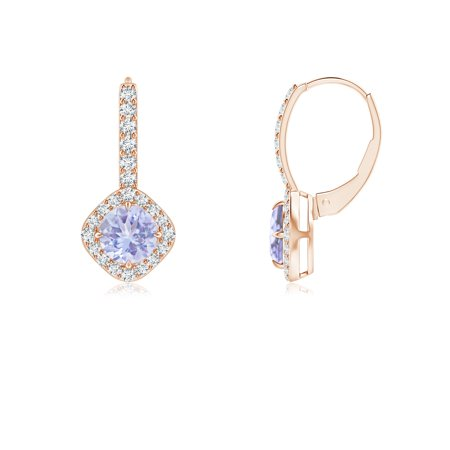Claw-Set Tanzanite and Diamond Leverback Halo Earrings in 14K Rose Gold (5mm Tanzanite) - SE1042TD-RG-A-5