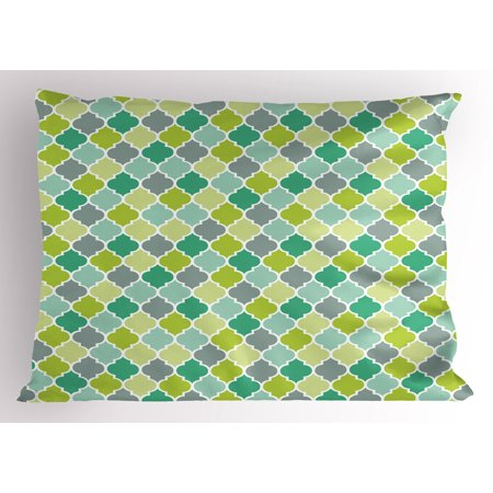 Teal Pillow Sham Traditional Moroccan Cultural Pattern Trellis Quatrefoil Motif in Vibrant Colors Retro, Decorative Standard Size Printed Pillowcase, 26 X 20 Inches, Multicolor, by Ambesonne
