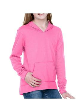 Kavio Girls 7-16 Jersey RawEdge High Low Long Sleeve Hoodie w.Pouch - GJP0629