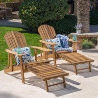 Munoz Reclining Wood Adirondack Chair with Footrest, Set of 2, Natural Stained