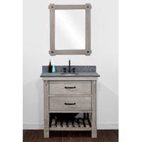 "30"" RUSTIC SOLID FIR SINGLE SINK VANITY WITH POLISHED TEXTURED SURFACE GRANITE TOP-NO FAUCET"