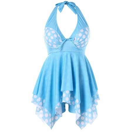e5d45d092c9 Womens Swimwear Plus Size Backless Polka Dot Womens Bathing Suits Tankini -  Walmart.com
