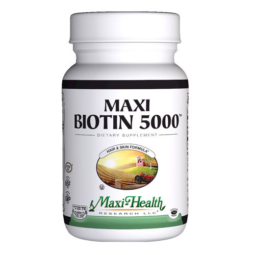 Maxi Health Kosher Vitamins Maxi Biotin 5000, 60 Count