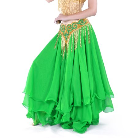 BellyLady Belly Dance Skirt Halloween Tribal Chiffon Tiered Maxi Full Skirt-Green