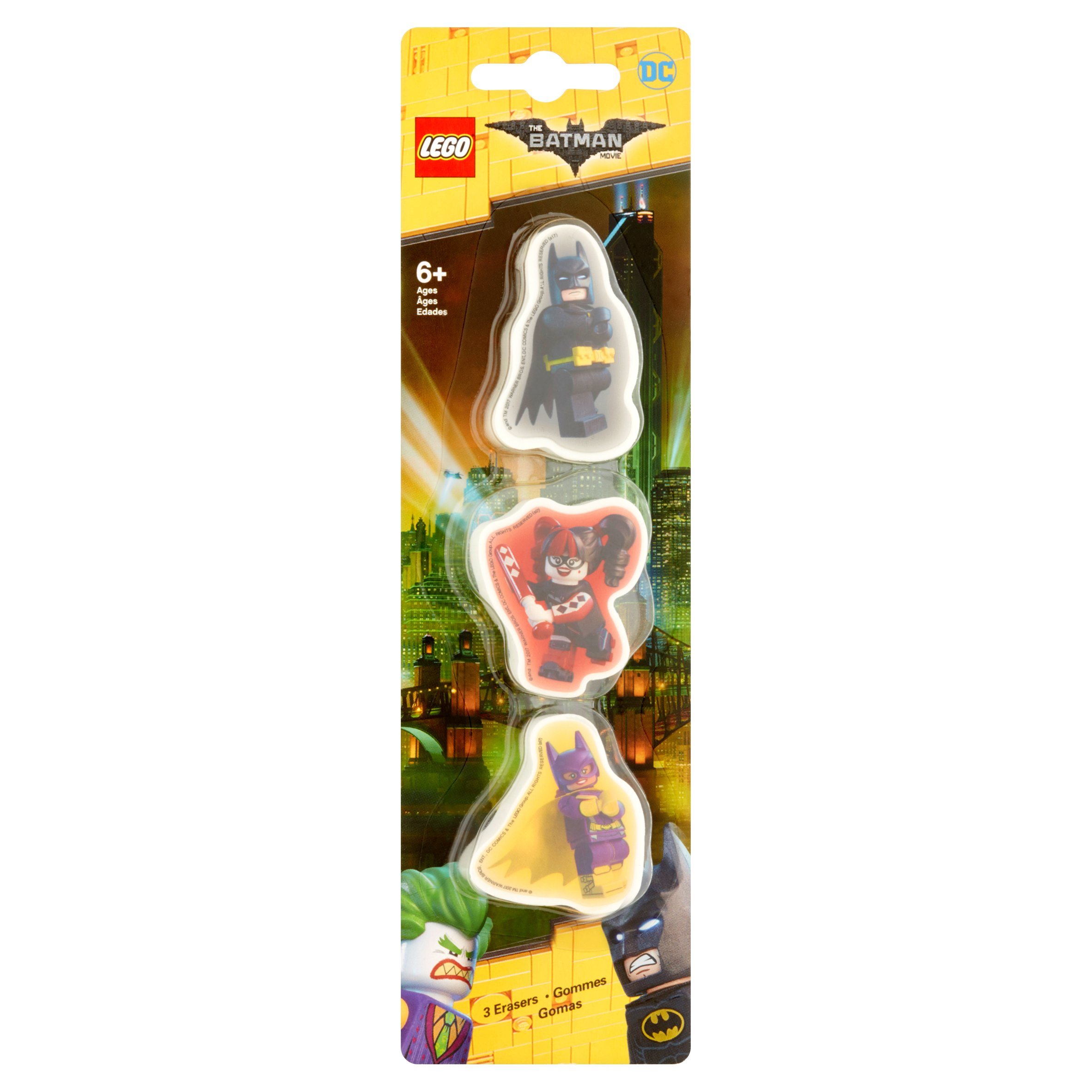 Lego DC The Batman Movie Erasers 6+ Ages, 3 count