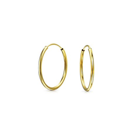 ee1e59b57357b Thin Simple Endless Real 14K Gold Hoop Earrings For Women For Teen