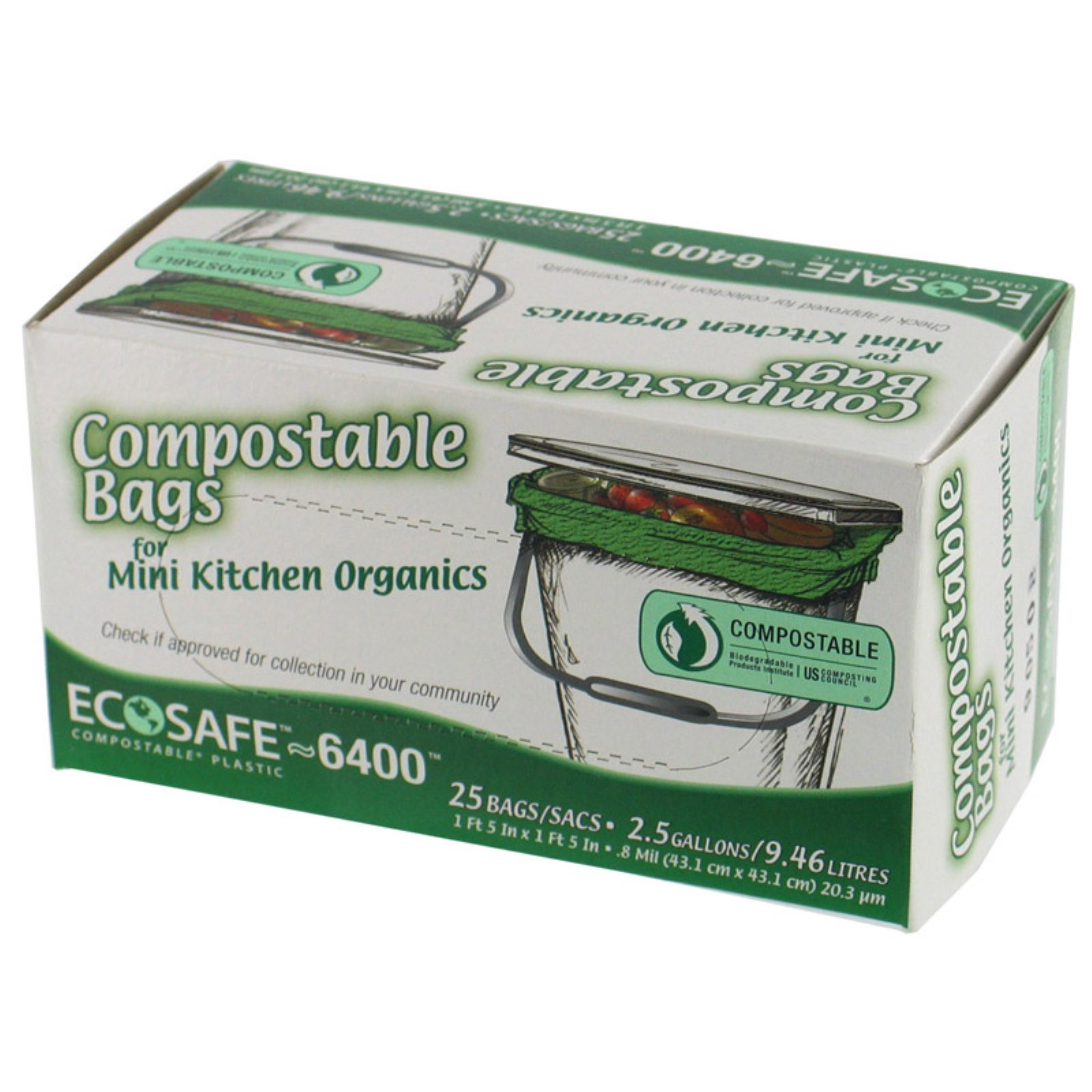 Geo Systems 2.5 Gallon 25 Count Compostable Plastic Bags