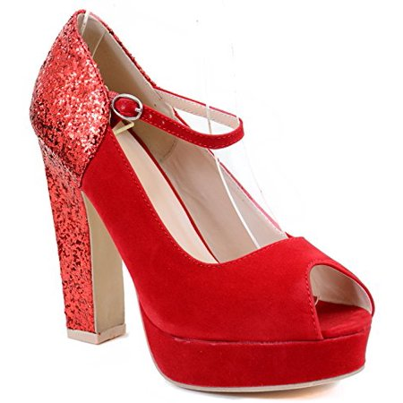 Platform Mary Jane Pumps (Peep-toe Glitter Mary Jane Women Chunky Heel Hidden Platform Pumps)