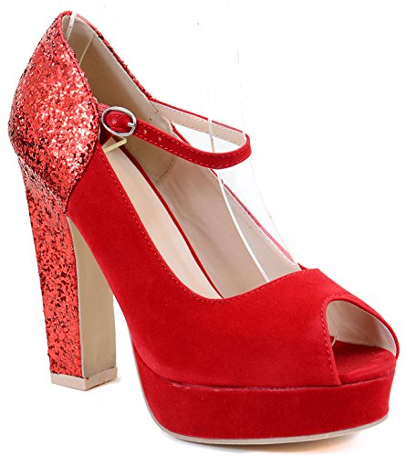 Peep-toe Glitter Mary Jane Women Chunky Heel Hidden Platform Pumps Shoes