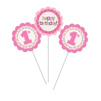 "Club Pack of 18 Pink ""Happy Birthday"" 1st Birthday Girl Party Decoration Centerpiece Picks 17"""