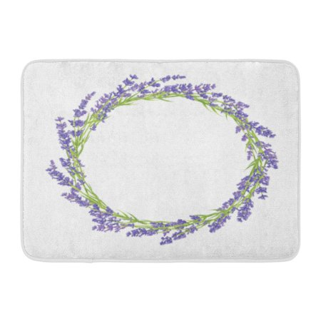 GODPOK Wedding Green Round Circle of Lavender Flowers Design for Thank You Purple Wreath Floral Rug Doormat Bath Mat 23.6x15.7 - Lavender Circles