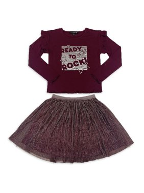 Social Edition Girls 4-16 Exclusive Ruffle Long Sleeve Graphic Tee and Mesh Tutu Skirt, 2-Piece Outfit Set