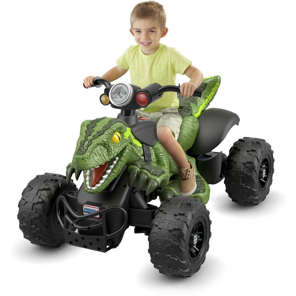 Power Wheels Jurassic World Dino Racer, Green Ride-On ATV for Kids by Fisher-Price