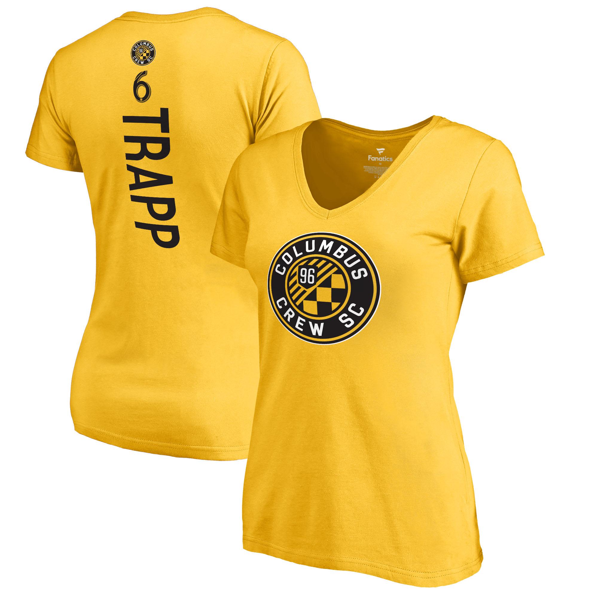 Wil Trapp Columbus Crew SC Fanatics Branded Women's Backer Name & Number V-Neck T-Shirt - Yellow