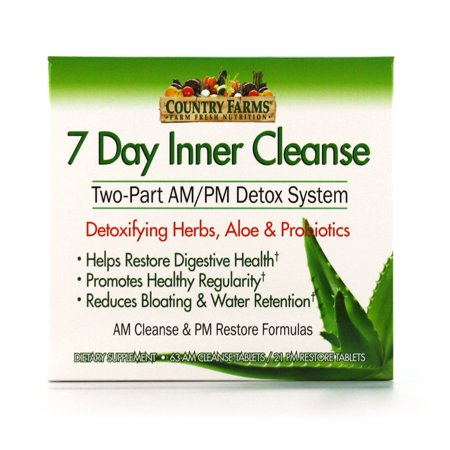 Country Farms 7 Day Inner Cleanse, AM/PM Detox System, Detoxifying Herbs, Aloe &