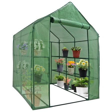 Zeny Walk-in Outdoor Patio Greenhouse - Grow Seeds, Plants, Flowers, Vegetables, Freestanding 3 Tiers 8-Shelf Gardening Green House ()
