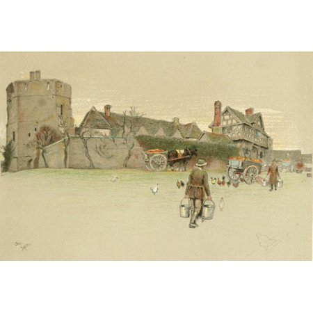 Old Manor Houses 1920 Stokesay Castle Shropshire Canvas Art - Cecil Aldin (18 x 24)