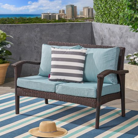 Pena Outdoor Water-Resistant Fabric Loveseat Cushions with Piping, Teal ()