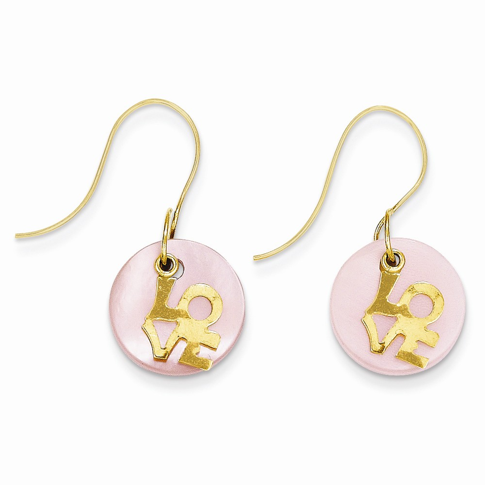 14k Yellow Gold Childs LOVE Mother of Pearl Dangle Earrings w/ Gift Box (0.9IN x 0.5IN )