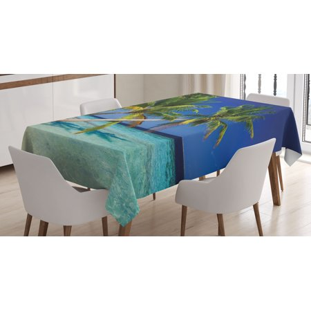 Tropical Tablecloth  Exotic Maldives Beach With Palms Paradise Coast Vacation Scenery  Rectangular Table Cover For Dining Room Kitchen  60 X 84 Inches  Blue Turquoise Fern Green  By Ambesonne