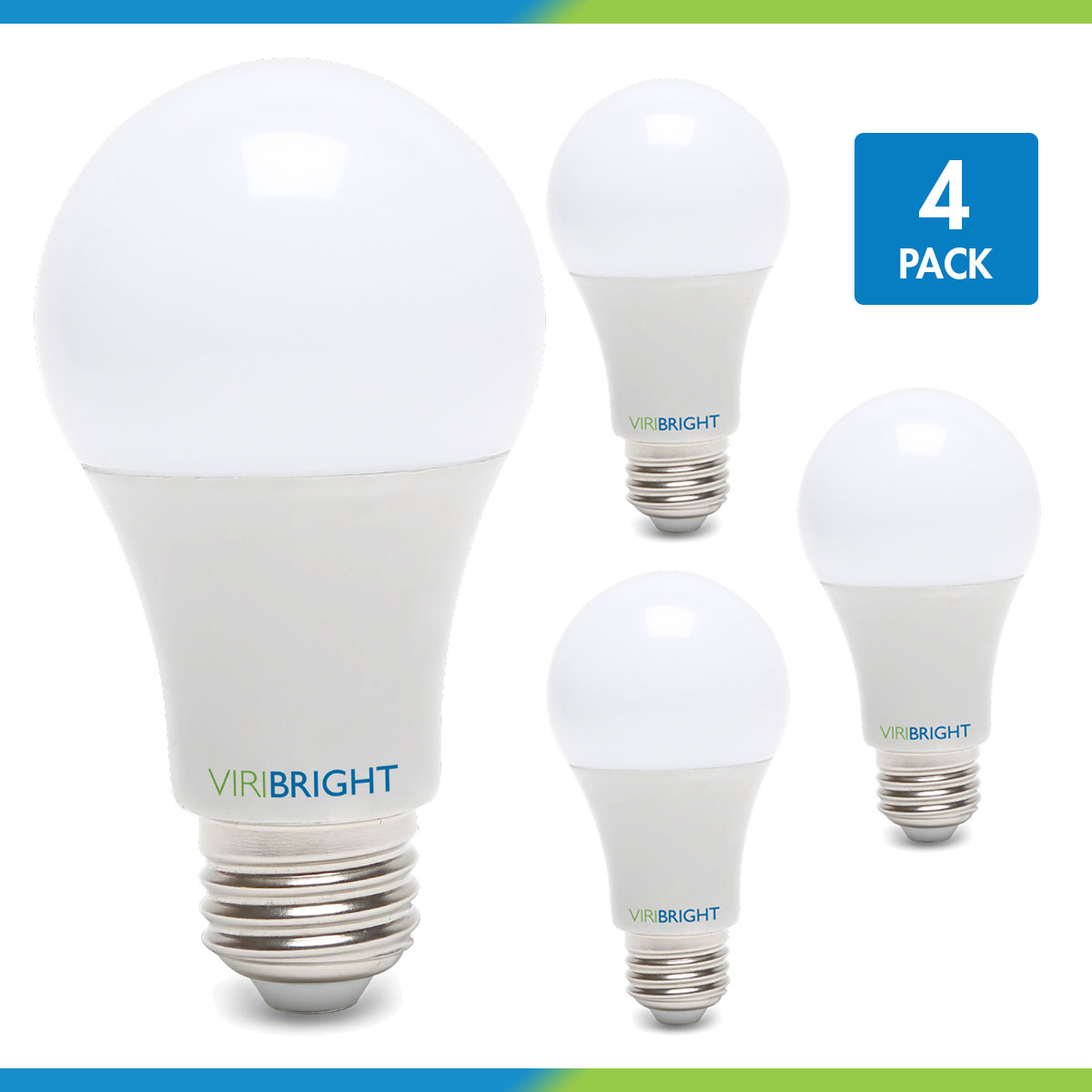Viribright 100 Watt Equivalent LED Light Bulb, 2700K Warm White (Soft White), Medium Screw Base (E26), Pack of 4