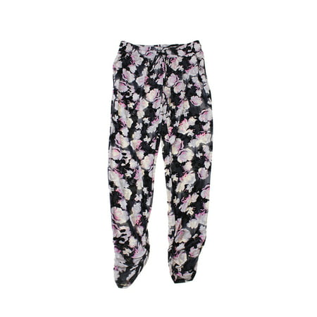 Inc International Concepts  Black Floral-Printed Tapered Soft Pants S